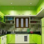 Кухня цвета лайм для кухни с окном посредине