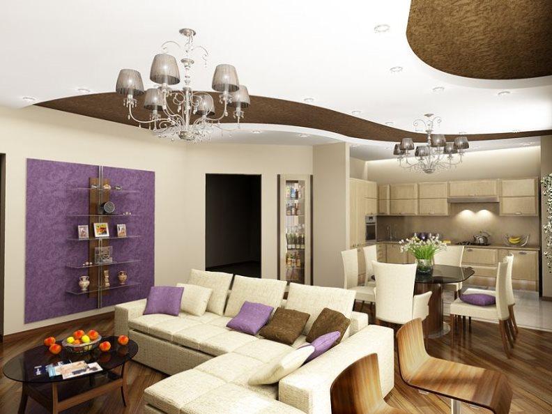 Модный интерьер кухни-гостиной с белой мебелью