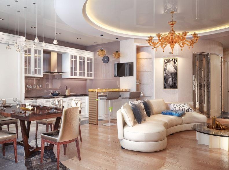 Дизайн кухни-гостиной в стиле постмодерна