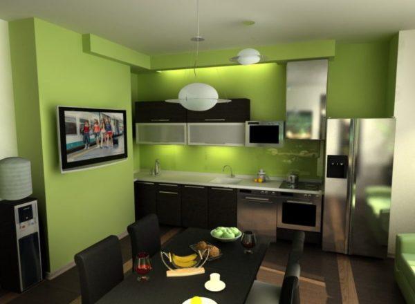 Лаймовые стенына кухне