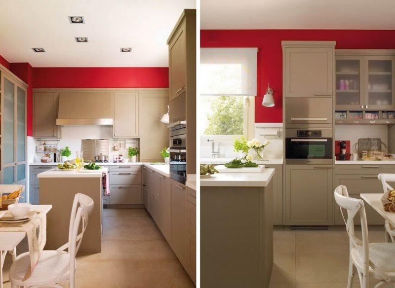 Малиновые стены кухни с мебелью цвета кофе с молоком