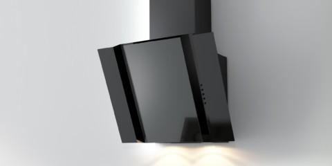 Наклонная вытяжка черного цвета