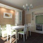 Небольшой прямоугольный диванчик салатового цвета на кухне