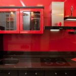 Необычная яркая и неординарная кухня TOKYO — красный-металлик глянец и венге-кантри
