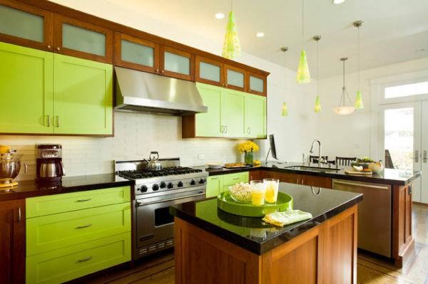 Цвет лайм на классической кухне