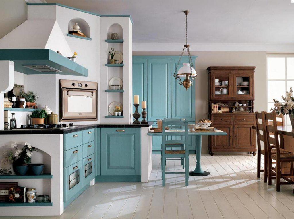 Однотонные стены на кухне с бирюзовой мебелью