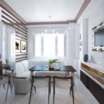 Раскладной белый диван для шикарной кухни