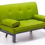 Раскладной салатовый диван на металлическом каркасе