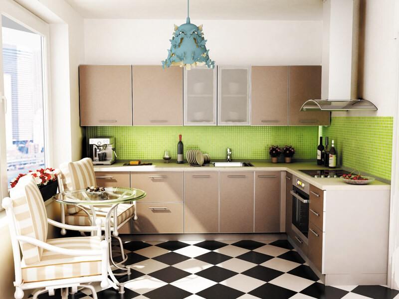 Черно-белая клетка напольного покрытия кухни