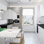 Серый диван на современной кухне