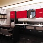 Шикарная кухня - красный феррари глянец и вен
