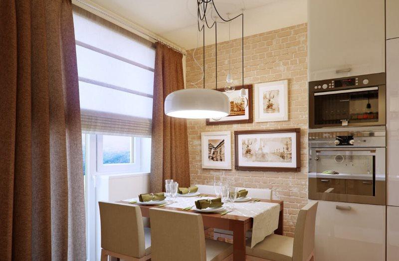 Кухонное окно со шторами цвета капучино