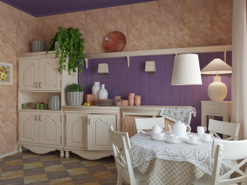 Интерьер деревенской кухни с фиолетовым фартуком