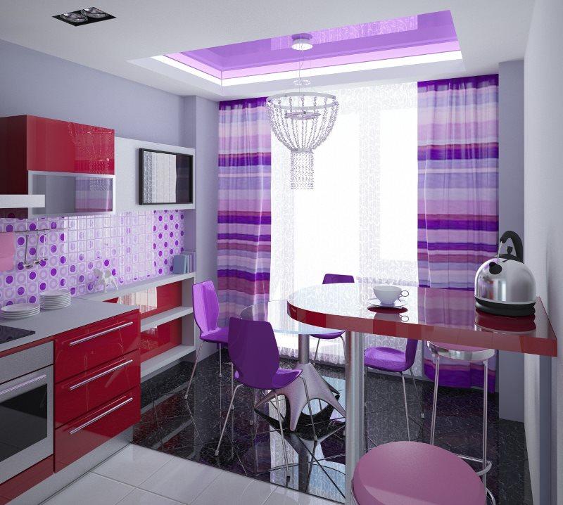 Дизайн кухни в стиле поп арт с фиолетовыми занавесками
