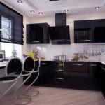 Стильная черная вытяжка для кухни с черной мебелью
