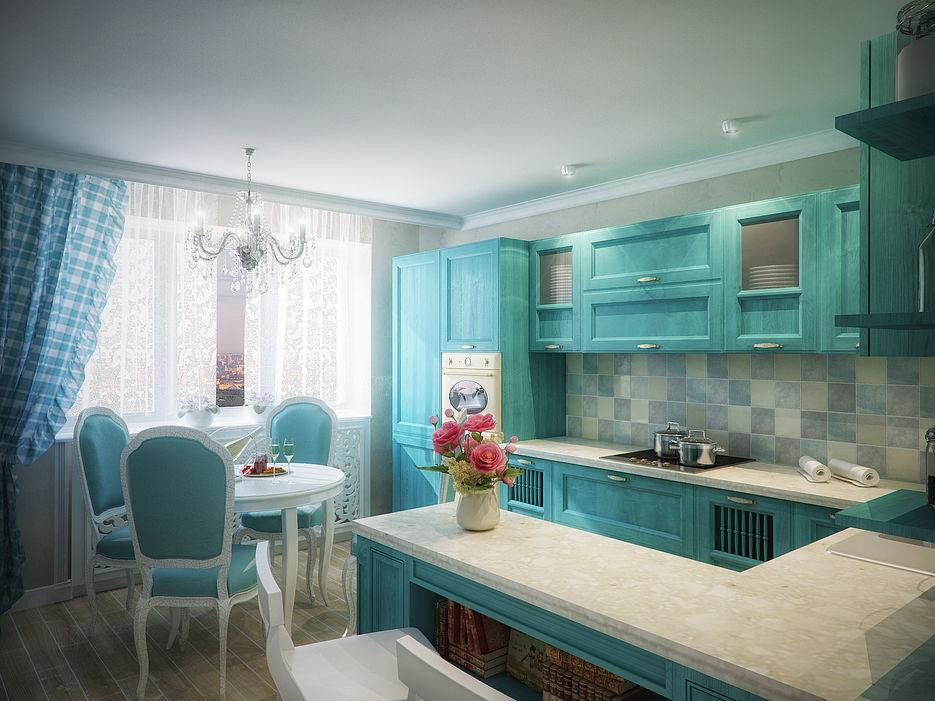 Дизайн кухни в деревенском стиле с барной стойкой