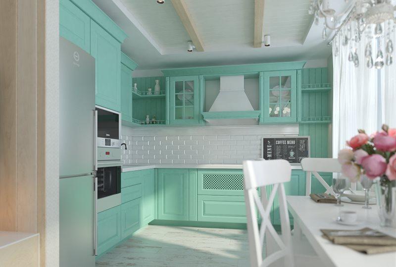 Дизайн небольшой кухни с мятной мебелью