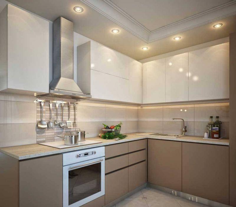 Точечные светильники на гипсокартонном потолке кухни