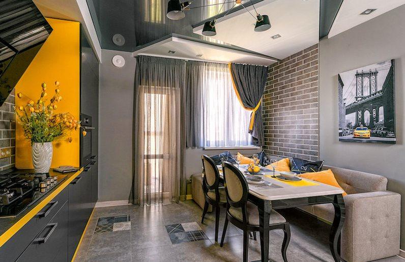 Дизайн серой кухни с акцентами желтого цвета