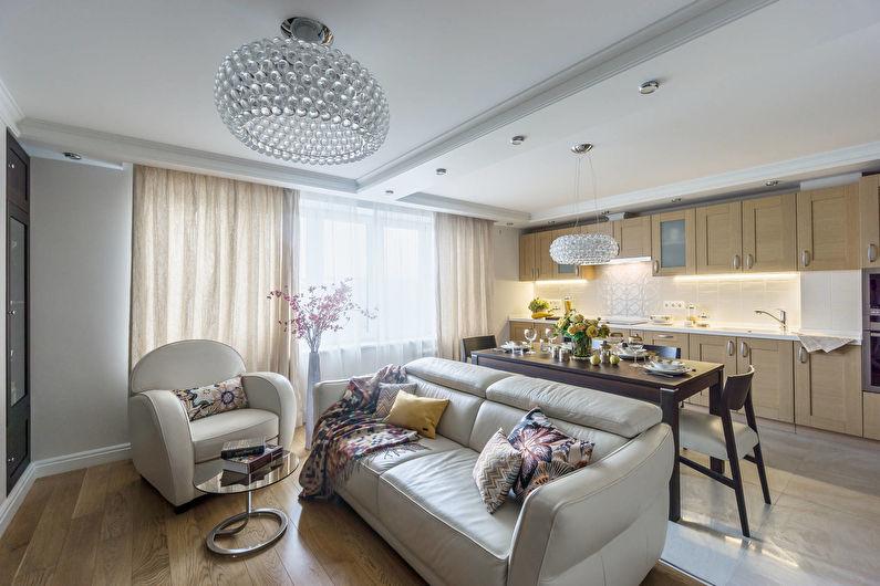 Зонирование кухни гостиной мебелью