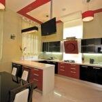Белый, черный и немного красного для обустройства кухни