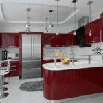 Белый и бордо на кухне смотрятся красиво