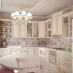 Цветочный рисунок на кухонном фартуке