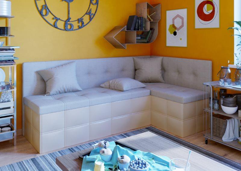 Угловой диванчик бежевого цвета со спальным местом