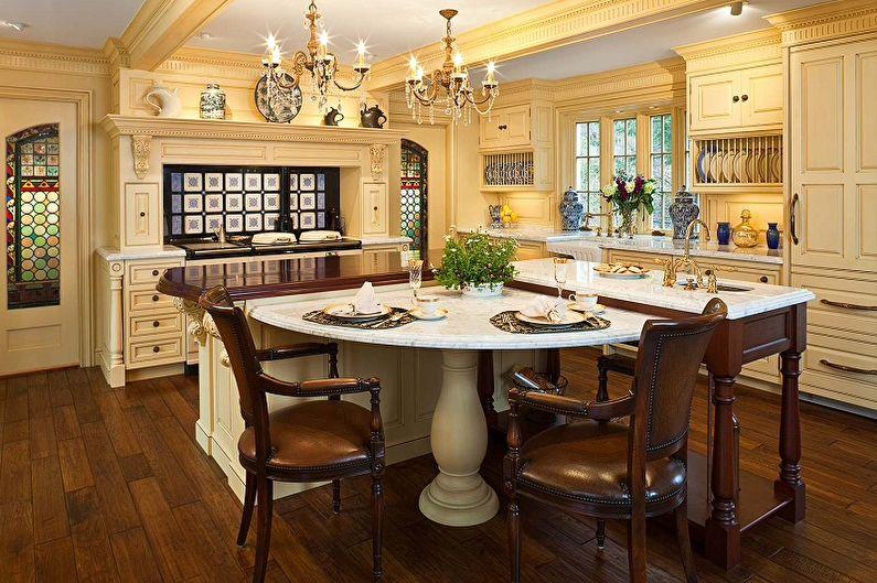 Интерьер большой кухни в классическом стиле с желтой мебелью