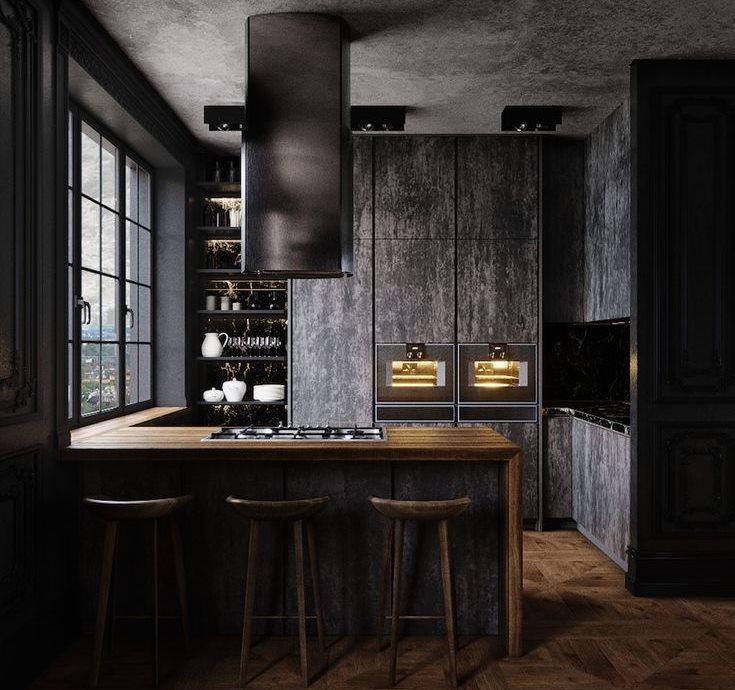 Небольшая черная кухня в квартире холостяка