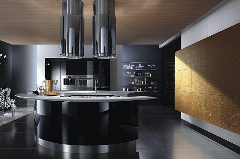 Дизайн большой кухни стиля хай-тек с черной мебелью