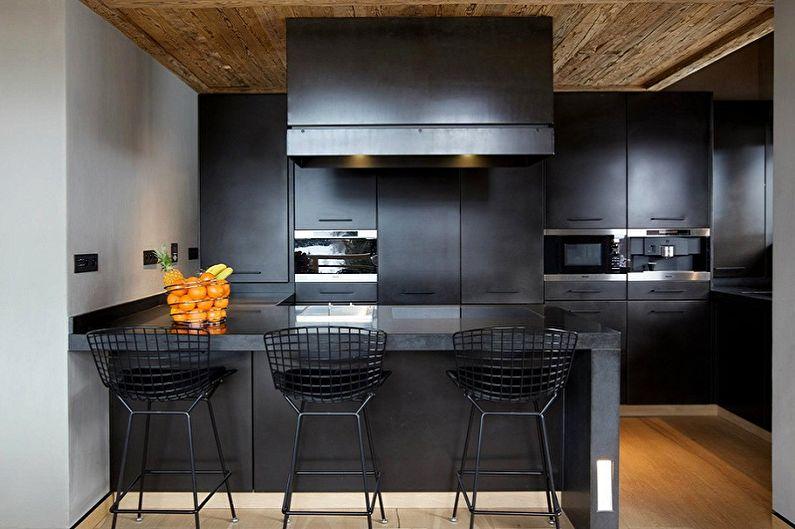 Черная кухня в стиле минимализма