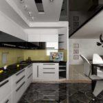 Темный пол в современной кухне