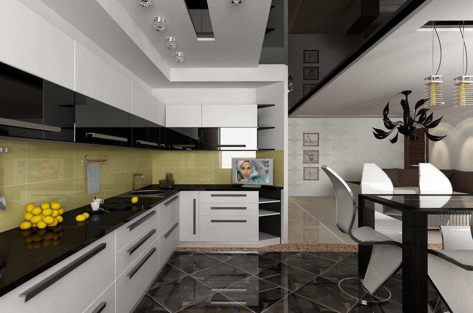 этом черный натяжных потолков на кухню фото дело