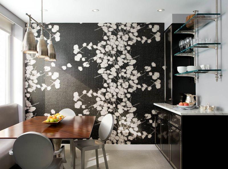 Черные фотообои в дизайне кухонного помещения