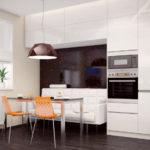Белый диван в нише кухонного гарнитура
