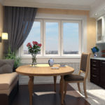 Раскладной диван в дизайне кухни городской квартиры