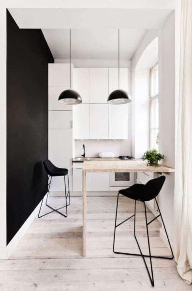 Дизайн маленькой черно-белой кухни