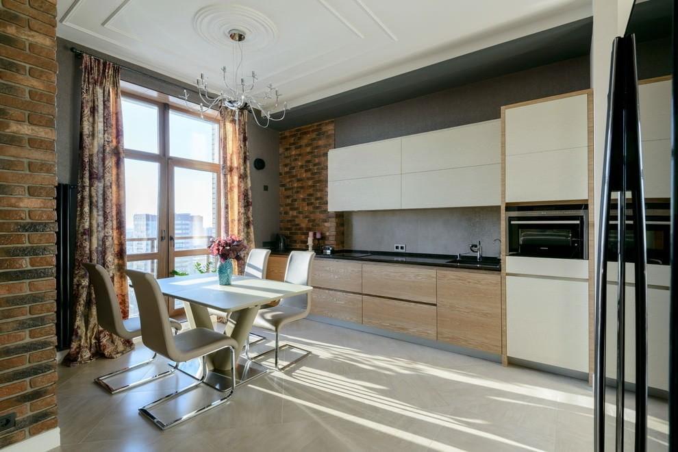 Прямые шторы на кухне в стиле хай тек