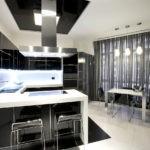 Белый пол на кухне в стиле хай тек