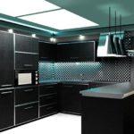 Черно-серый интерьер кухни в стиле минимализма