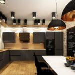 Дизайн кухни лофт с черной мебелью
