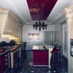 Дизайн кухни в стиле арт деко с темным полом