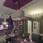 Дизайн современной кухни в оттенках фиолетового цвета