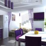 Фиолетовый цвет в дизайне кухни