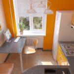 Желтая стена кухни с холодильником у окна