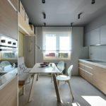 Двухсторонняя планировка современной кухни