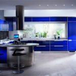 Синяя кухня в стиле хай-тек
