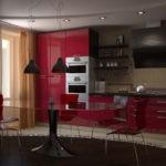 Гарнитур бордо и красные стлья возле овального стола
