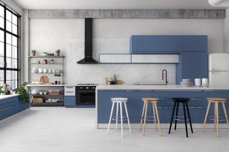 Голубой гарнитур на кухне в индустриальном стиле